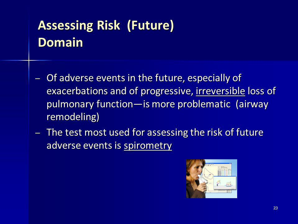 23 Assessing Risk (Future) Domain – Of adverse events in the future, especially of exacerbations and of progressive, irreversible loss of pulmonary fu