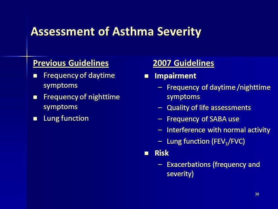 30 Assessment of Asthma Severity Previous Guidelines Frequency of daytime symptoms Frequency of daytime symptoms Frequency of nighttime symptoms Frequ
