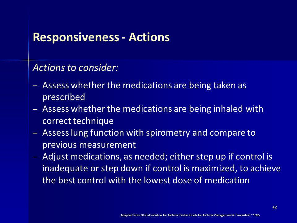 42 Actions to consider: – Assess whether the medications are being taken as prescribed – Assess whether the medications are being inhaled with correct