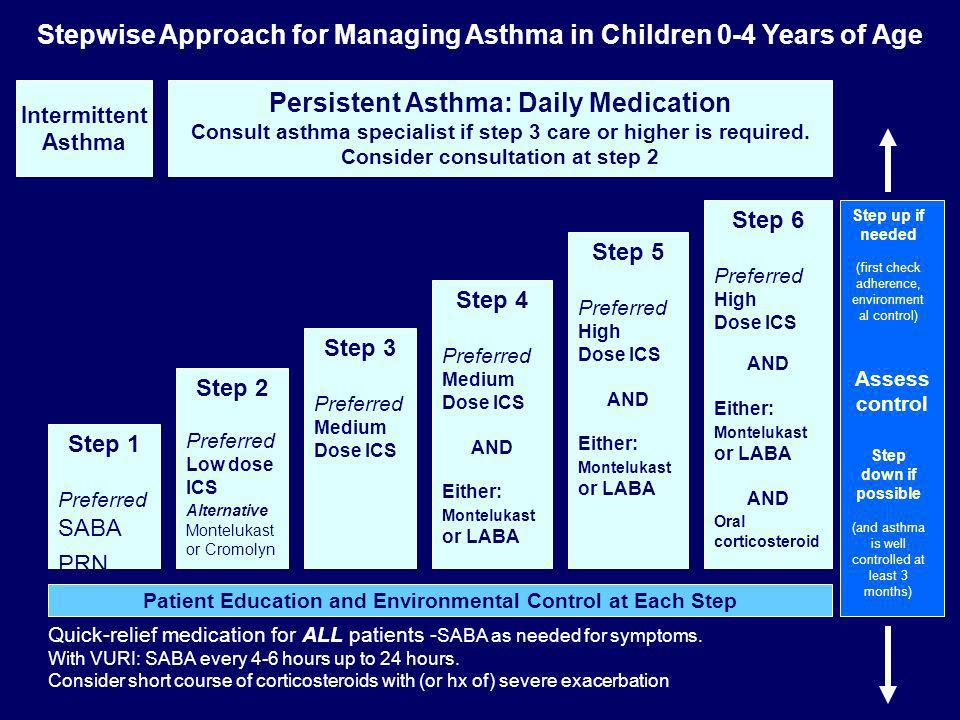 Intermittent Asthma Persistent Asthma: Daily Medication Consult asthma specialist if step 3 care or higher is required. Consider consultation at step