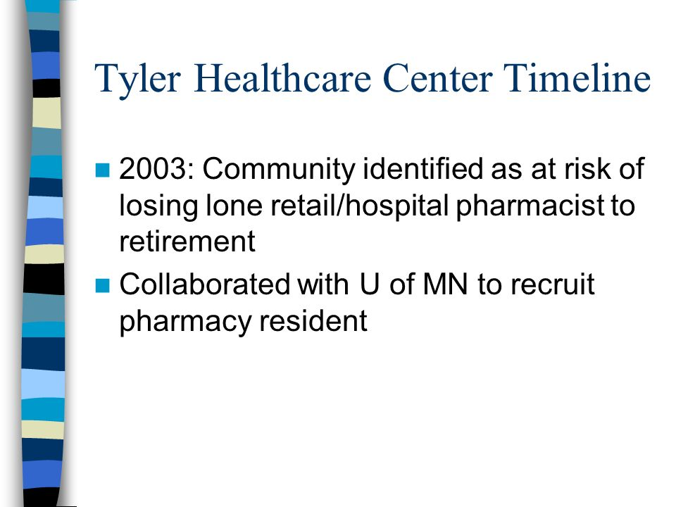 Tyler Healthcare Center Timeline 2003: Community identified as at risk of losing lone retail/hospital pharmacist to retirement Collaborated with U of MN to recruit pharmacy resident