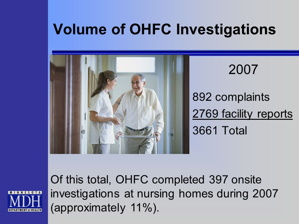 Volume of OHFC Investigations 2007 892 complaints 2769 facility reports 3661 Total Of this total, OHFC completed 397 onsite investigations at nursing