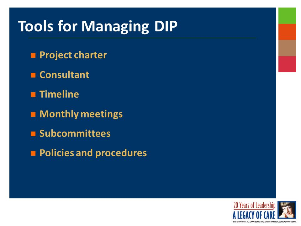 Tools for Managing DIP Project charter Consultant Timeline Monthly meetings Subcommittees Policies and procedures