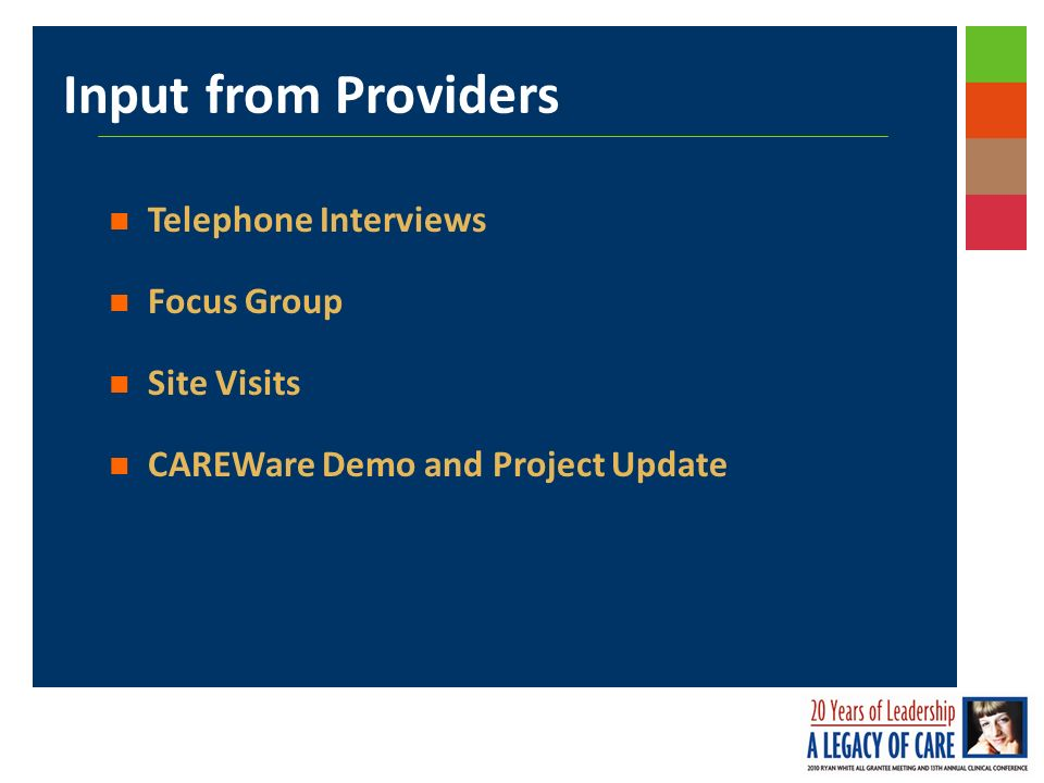 Input from Providers Telephone Interviews Focus Group Site Visits CAREWare Demo and Project Update