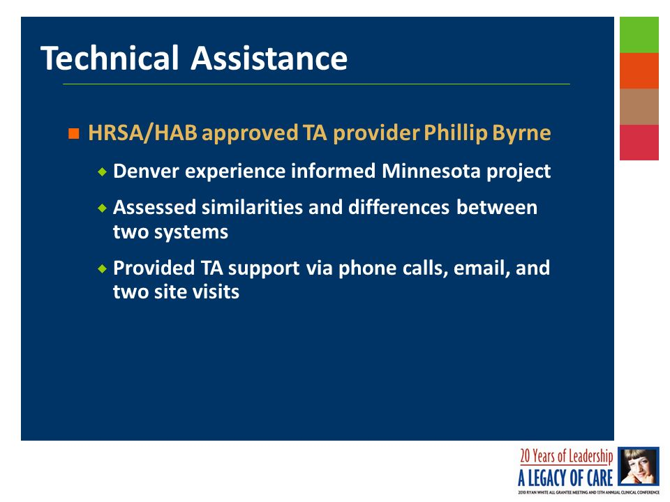 Technical Assistance HRSA/HAB approved TA provider Phillip Byrne Denver experience informed Minnesota project Assessed similarities and differences between two systems Provided TA support via phone calls, email, and two site visits