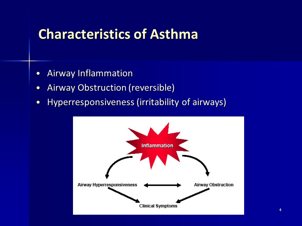 4 Characteristics of Asthma Airway Inflammation Airway Inflammation Airway Obstruction (reversible) Airway Obstruction (reversible) Hyperresponsivenes