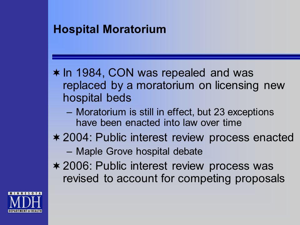Hospital Moratorium In 1984, CON was repealed and was replaced by a moratorium on licensing new hospital beds –Moratorium is still in effect, but 23 e