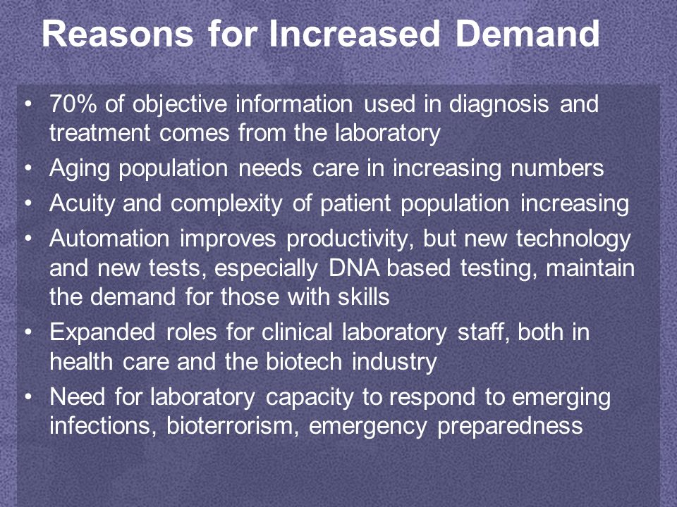 Reasons for Increased Demand 70% of objective information used in diagnosis and treatment comes from the laboratory Aging population needs care in increasing numbers Acuity and complexity of patient population increasing Automation improves productivity, but new technology and new tests, especially DNA based testing, maintain the demand for those with skills Expanded roles for clinical laboratory staff, both in health care and the biotech industry Need for laboratory capacity to respond to emerging infections, bioterrorism, emergency preparedness