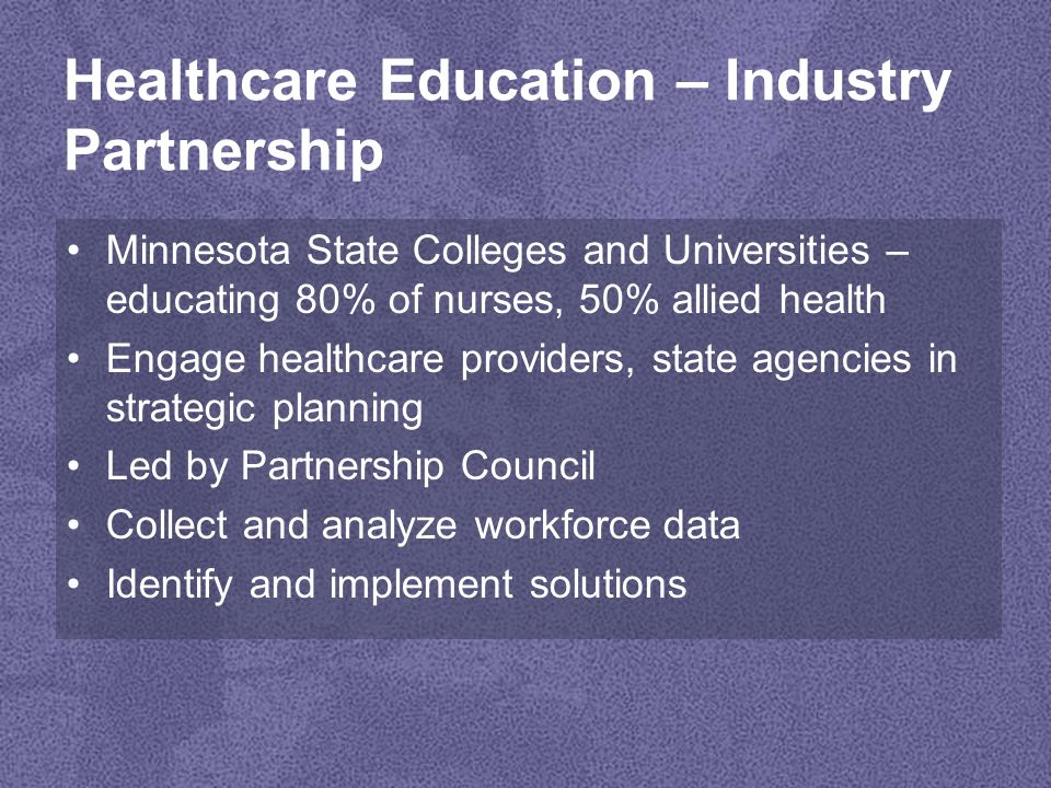 Initiatives Nursing –Core Curriculum –Clinical Sites –Simulation –Articulation –Faculty K-12 –Youth Apprenticeships –HOSA –Core Curriculum Immigrant and Refugee –Community Health Worker –Commission on the Emerging Worker –Career Pathways