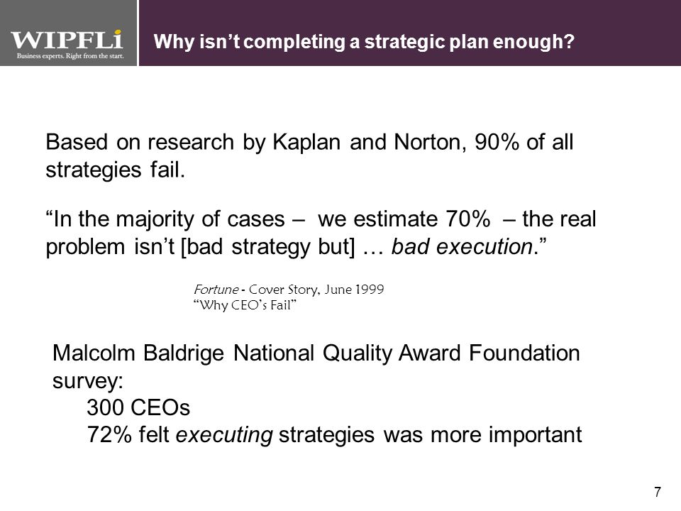6 Prelude to the Balanced Scorecard Mission/Vision Goals/Objectives (what we want to do) Strategies (how we will do it) Measures (how we know we did i