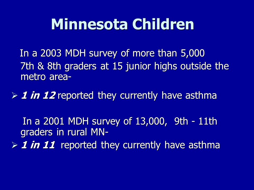 Minnesota Children In a 2003 MDH survey of more than 5,000 In a 2003 MDH survey of more than 5,000 7th & 8th graders at 15 junior highs outside the me