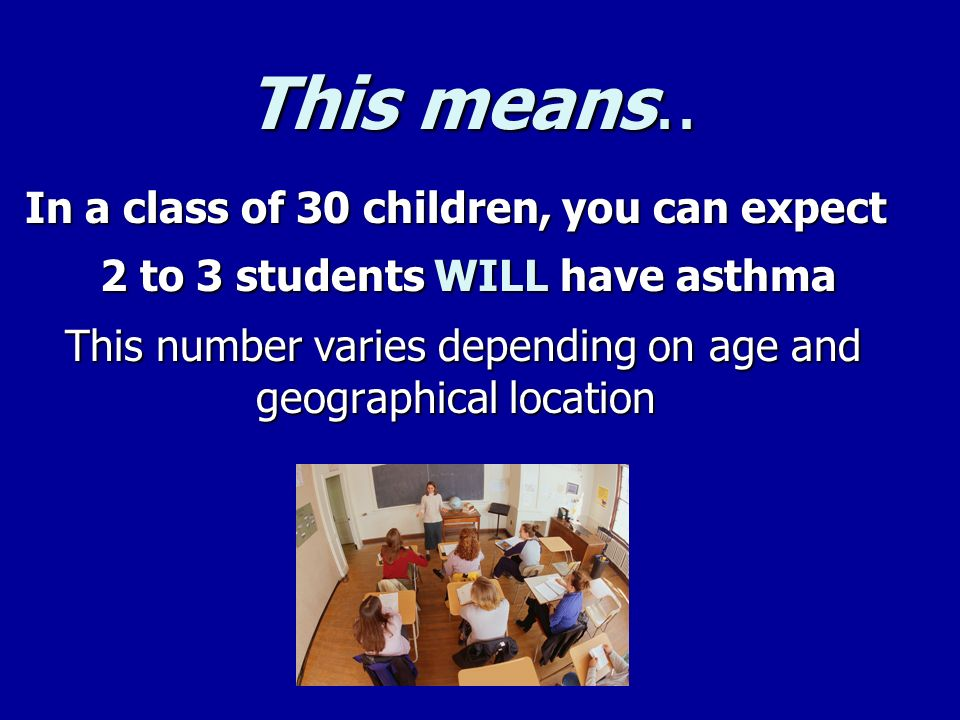 This means.. In a class of 30 children, you can expect 2 to 3 students WILL have asthma 2 to 3 students WILL have asthma This number varies depending