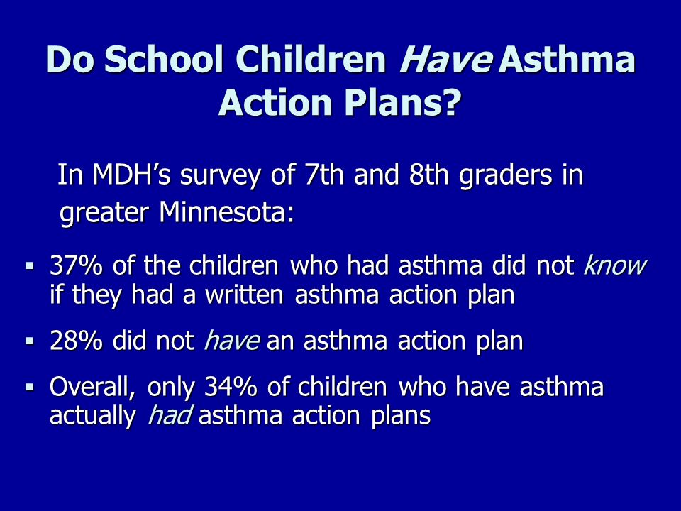 Do School Children Have Asthma Action Plans? In MDHs survey of 7th and 8th graders in In MDHs survey of 7th and 8th graders in greater Minnesota: grea