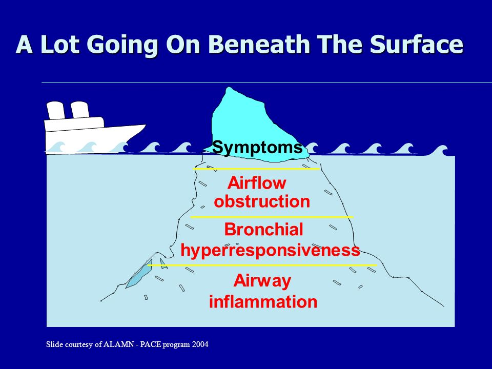 A Lot Going On Beneath The Surface Airway inflammation Airflow obstruction Bronchial hyperresponsiveness Symptoms Slide courtesy of ALAMN - PACE progr