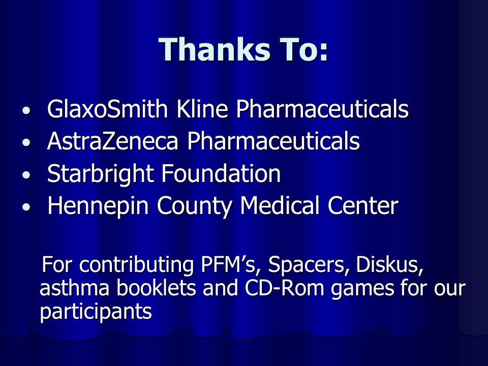 Thanks To: GlaxoSmith Kline Pharmaceuticals GlaxoSmith Kline Pharmaceuticals AstraZeneca Pharmaceuticals AstraZeneca Pharmaceuticals Starbright Founda