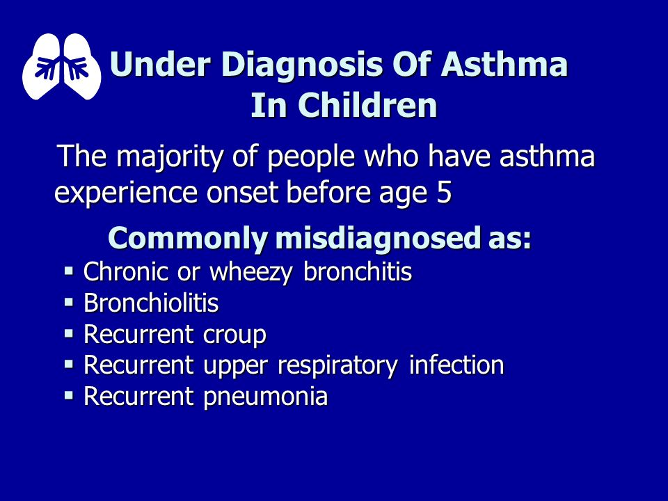 Under Diagnosis Of Asthma In Children The majority of people who have asthma experience onset before age 5 The majority of people who have asthma expe