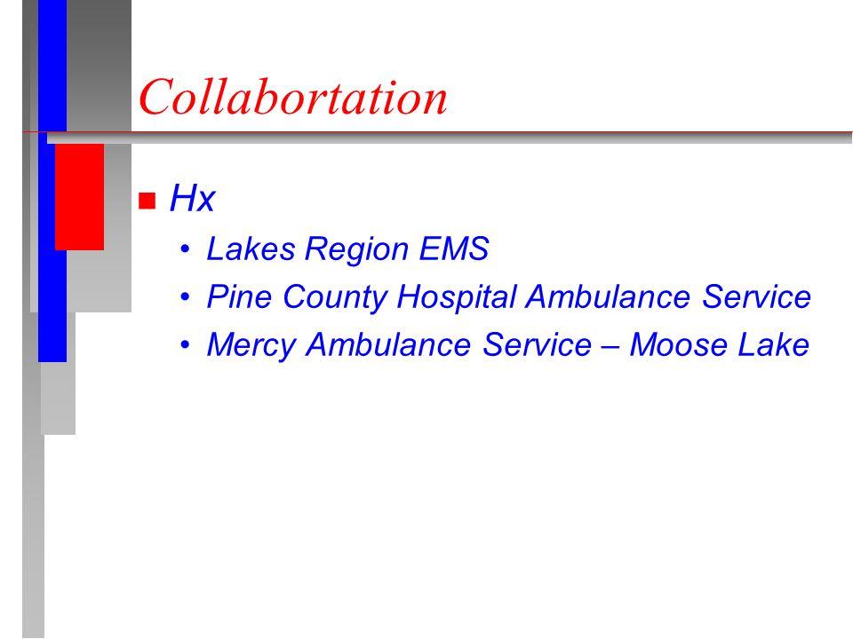 Collabortation n Hx Lakes Region EMS Pine County Hospital Ambulance Service Mercy Ambulance Service – Moose Lake