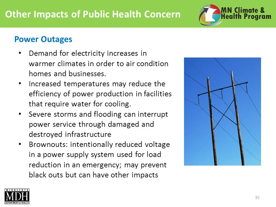 Other Impacts of Public Health Concern Power Outages Demand for electricity increases in warmer climates in order to air condition homes and businesses.