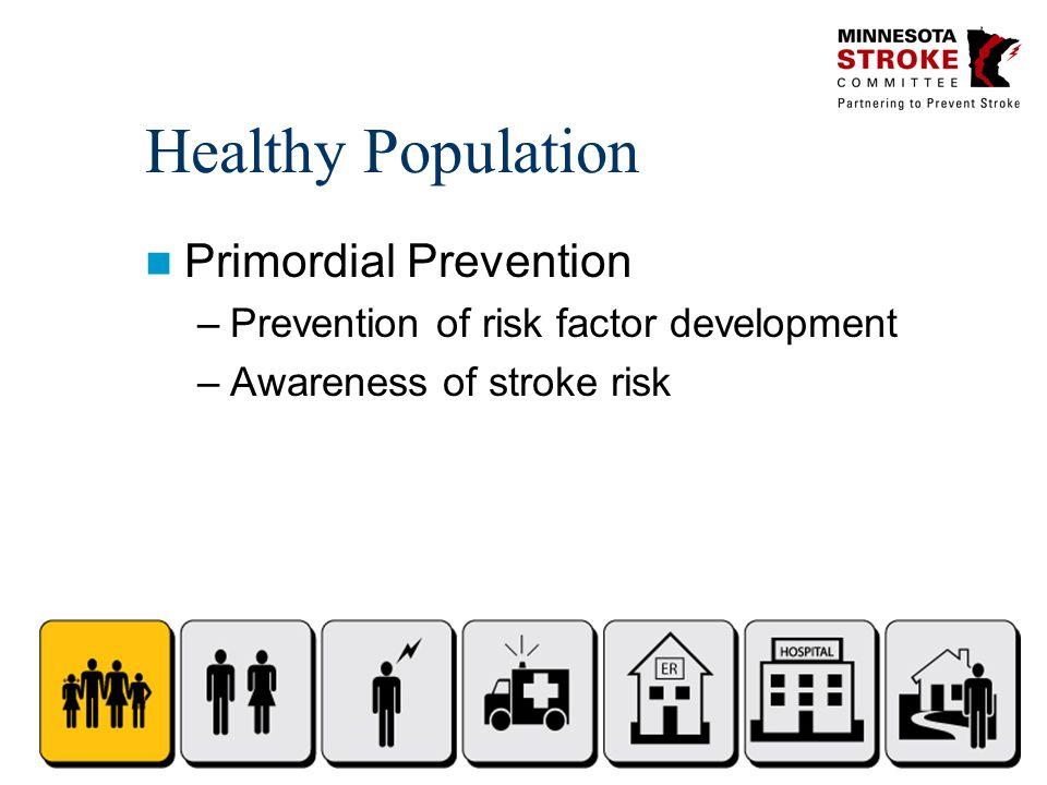 Healthy Population Primordial Prevention –Prevention of risk factor development –Awareness of stroke risk
