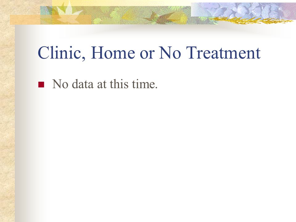 Clinic, Home or No Treatment No data at this time.