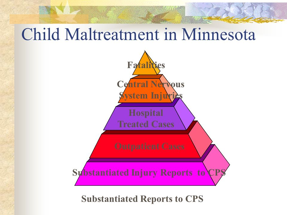 Child Maltreatment in Minnesota Central Nervous System Injuries Fatalities Hospital Treated Cases Outpatient Cases Substantiated Reports to CPS Substa