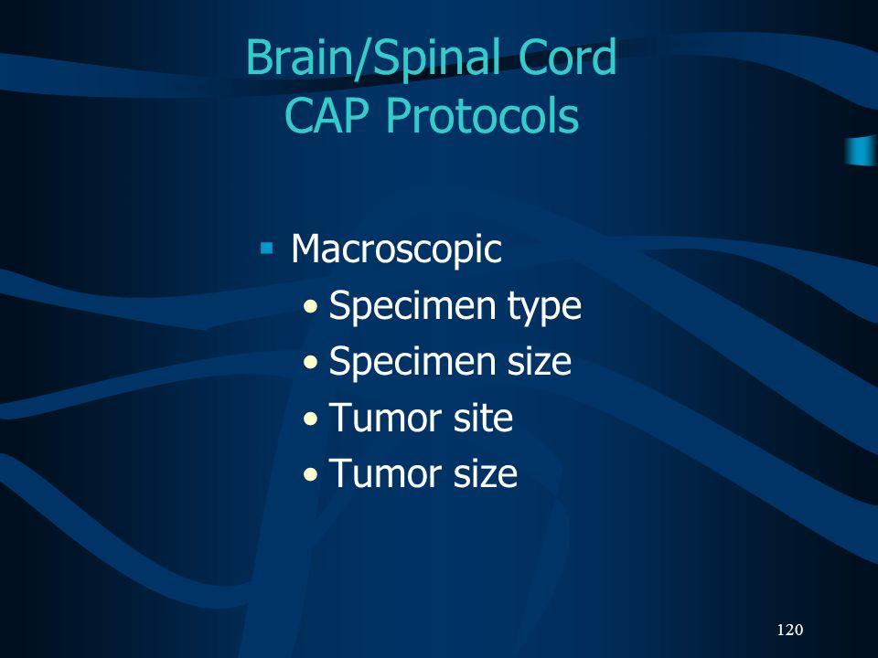 120 Brain/Spinal Cord CAP Protocols Macroscopic Specimen type Specimen size Tumor site Tumor size