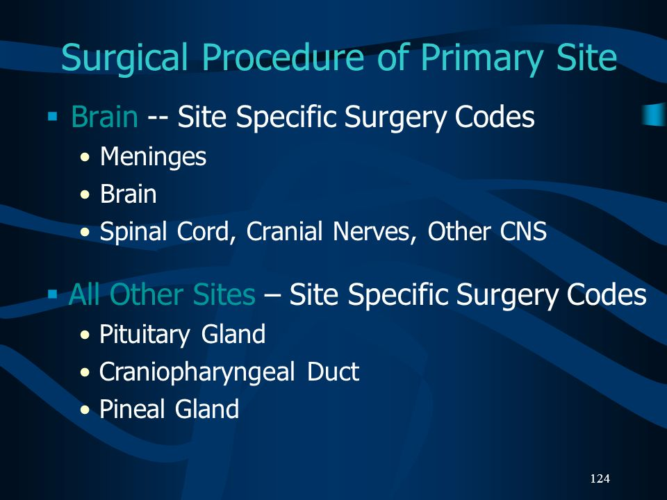 124 Surgical Procedure of Primary Site Brain -- Site Specific Surgery Codes Meninges Brain Spinal Cord, Cranial Nerves, Other CNS All Other Sites – Si