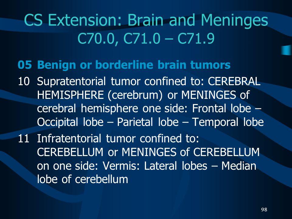 98 CS Extension: Brain and Meninges C70.0, C71.0 – C71.9 05Benign or borderline brain tumors 10Supratentorial tumor confined to: CEREBRAL HEMISPHERE (