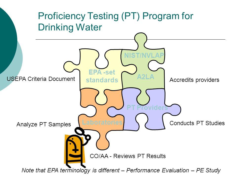 Proficiency Testing (PT) Program for Drinking Water EPA -set standards USEPA Criteria Document NIST/NVLAP A2LA Accredits providers PT Providers Conduc