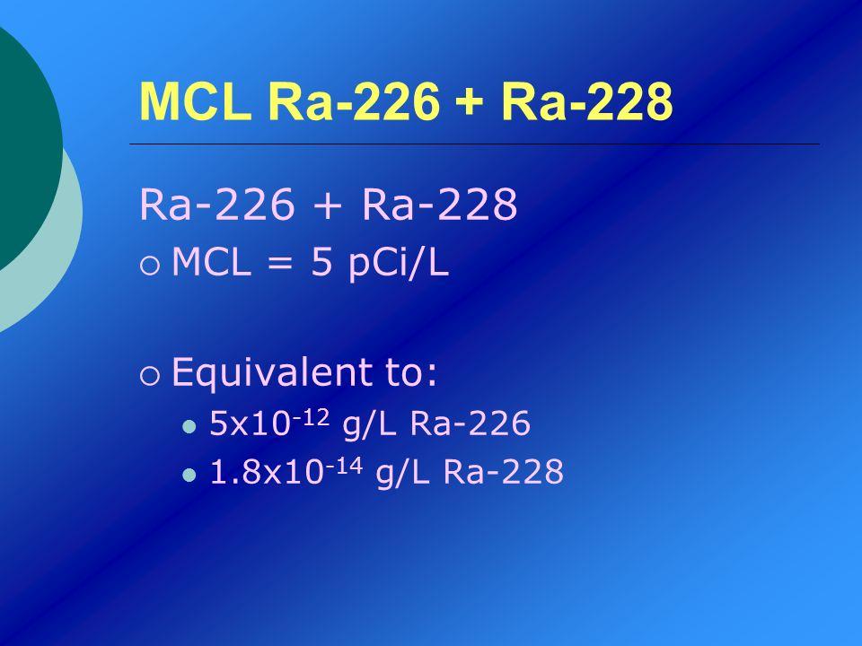 MCL Ra-226 + Ra-228 Ra-226 + Ra-228 MCL = 5 pCi/L Equivalent to: 5x10 -12 g/L Ra-226 1.8x10 -14 g/L Ra-228
