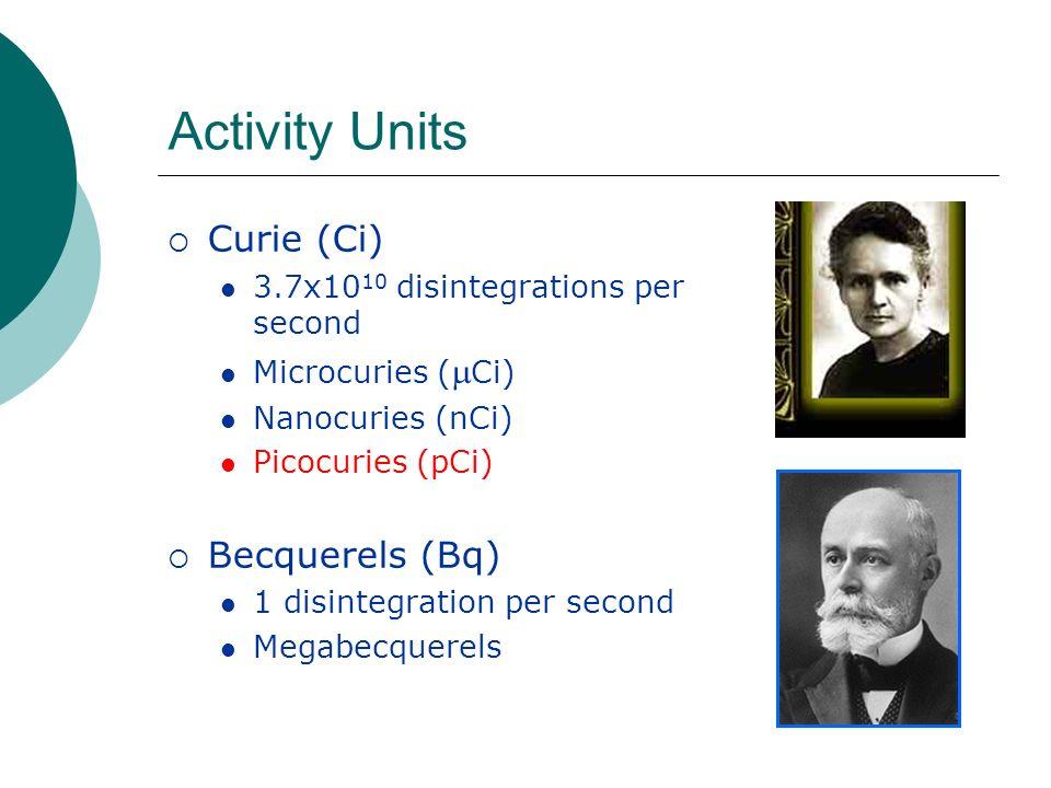Activity Units Curie (Ci) 3.7x10 10 disintegrations per second Microcuries ( Ci) Nanocuries (nCi) Picocuries (pCi) Becquerels (Bq) 1 disintegration pe