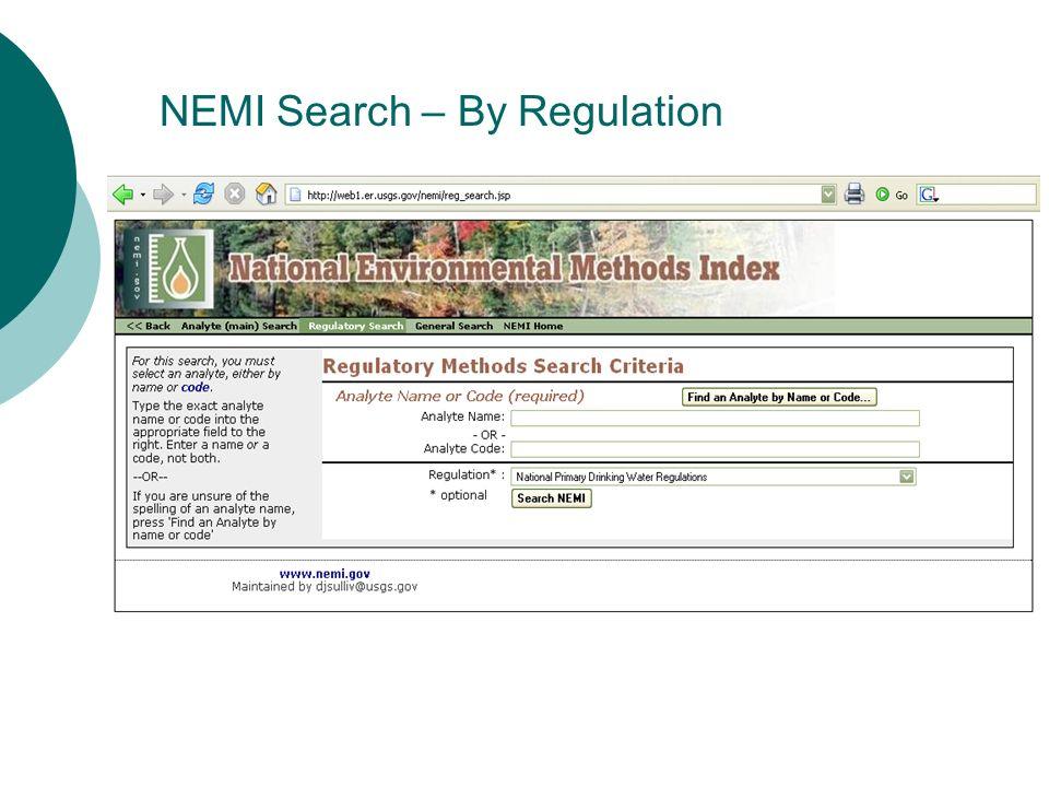 NEMI Search – By Regulation