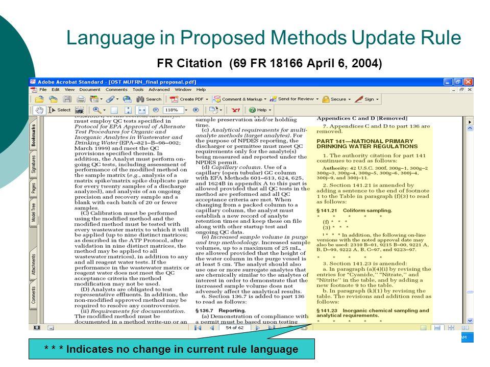 Language in Proposed Methods Update Rule FR Citation (69 FR 18166 April 6, 2004) * * * Indicates no change in current rule language