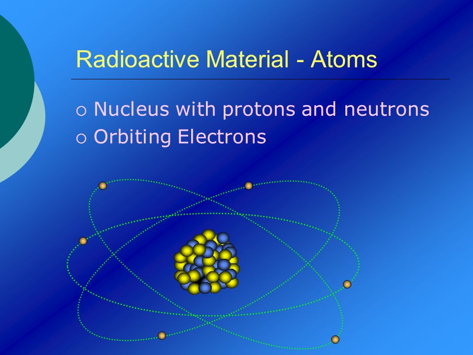 Radioactive Material - Atoms Nucleus with protons and neutrons Orbiting Electrons