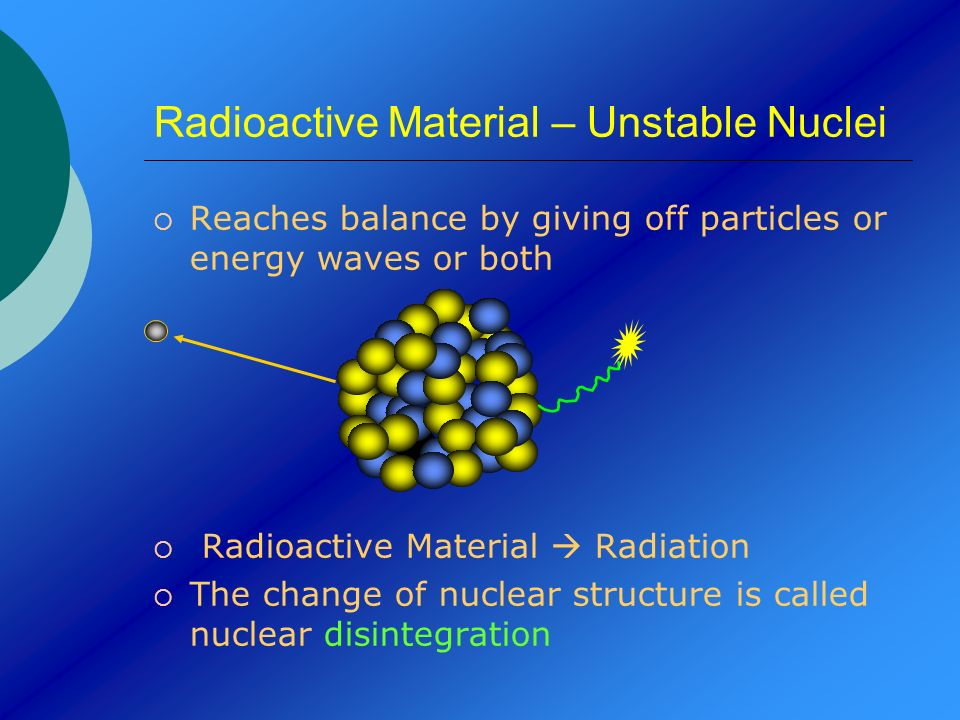 Radioactive Material – Unstable Nuclei Reaches balance by giving off particles or energy waves or both Radioactive Material Radiation The change of nu