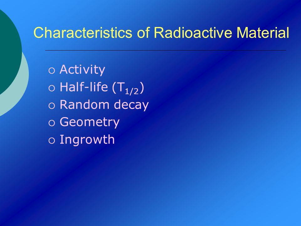 Characteristics of Radioactive Material Activity Half-life (T 1/2 ) Random decay Geometry Ingrowth
