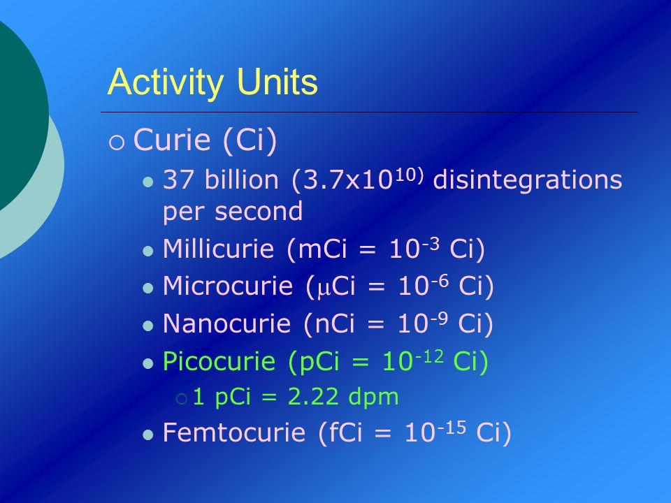 Activity Units Curie (Ci) 37 billion (3.7x10 10) disintegrations per second Millicurie (mCi = 10 -3 Ci) Microcurie (Ci = 10 -6 Ci) Nanocurie (nCi = 10