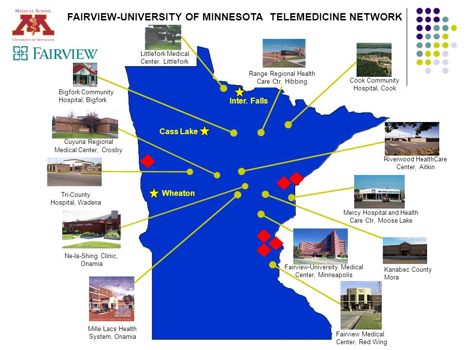 © University of Minnesota, August 2005 Littlefork Medical Center, Littlefork FAIRVIEW-UNIVERSITY OF MINNESOTA TELEMEDICINE NETWORK Range Regional Heal