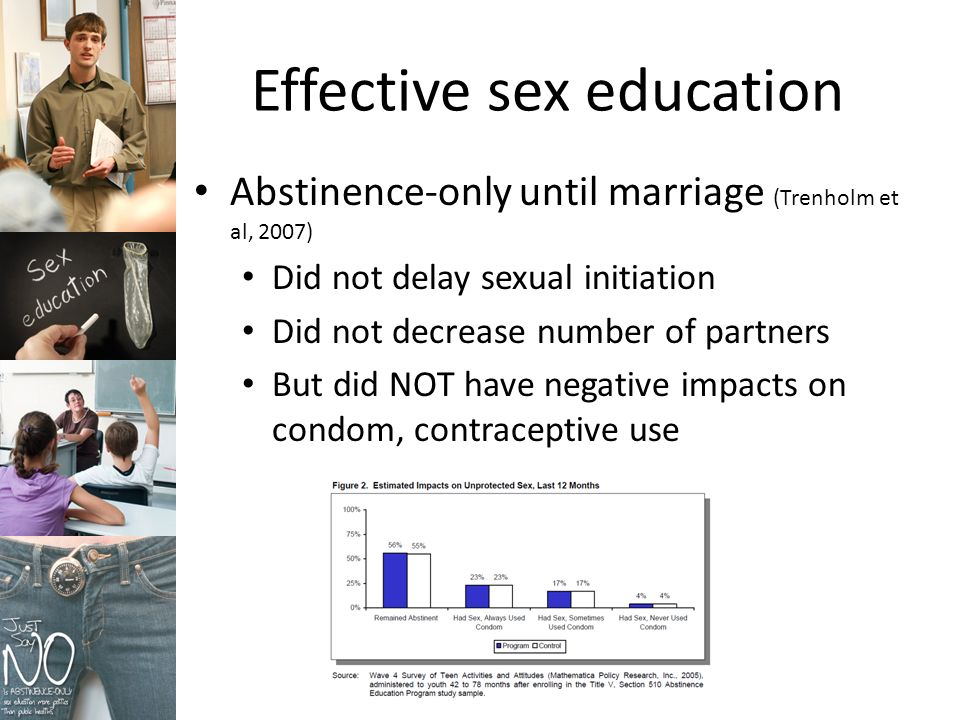 Effective sex education Abstinence-only until marriage (Trenholm et al, 2007) Did not delay sexual initiation Did not decrease number of partners But did NOT have negative impacts on condom, contraceptive use