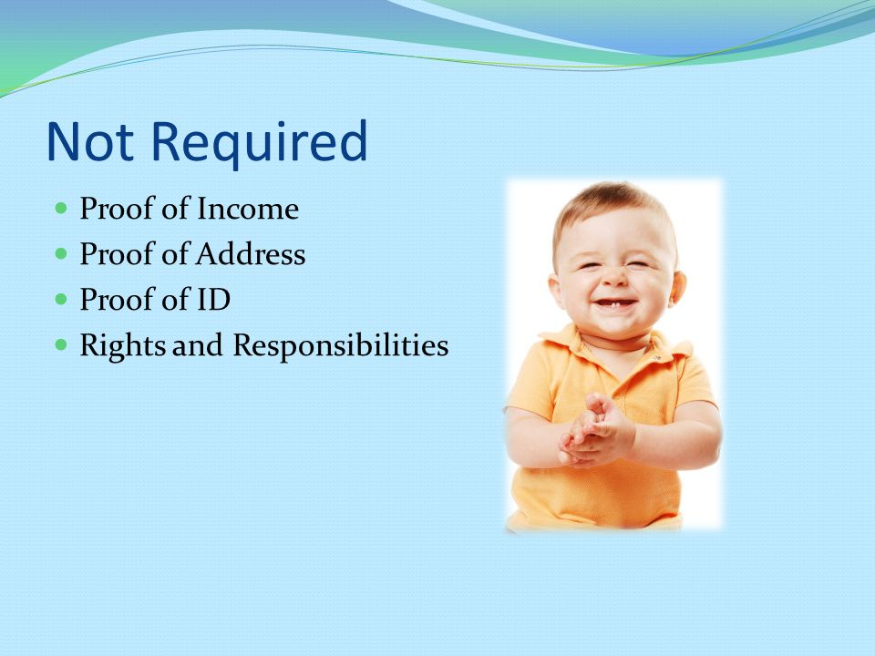 Not Required Proof of Income Proof of Address Proof of ID Rights and Responsibilities