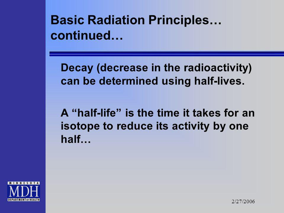 2/27/2006 Basic Radiation Principles Radiation is energy released from unstable elements. The energy is released until the element is stable. This may