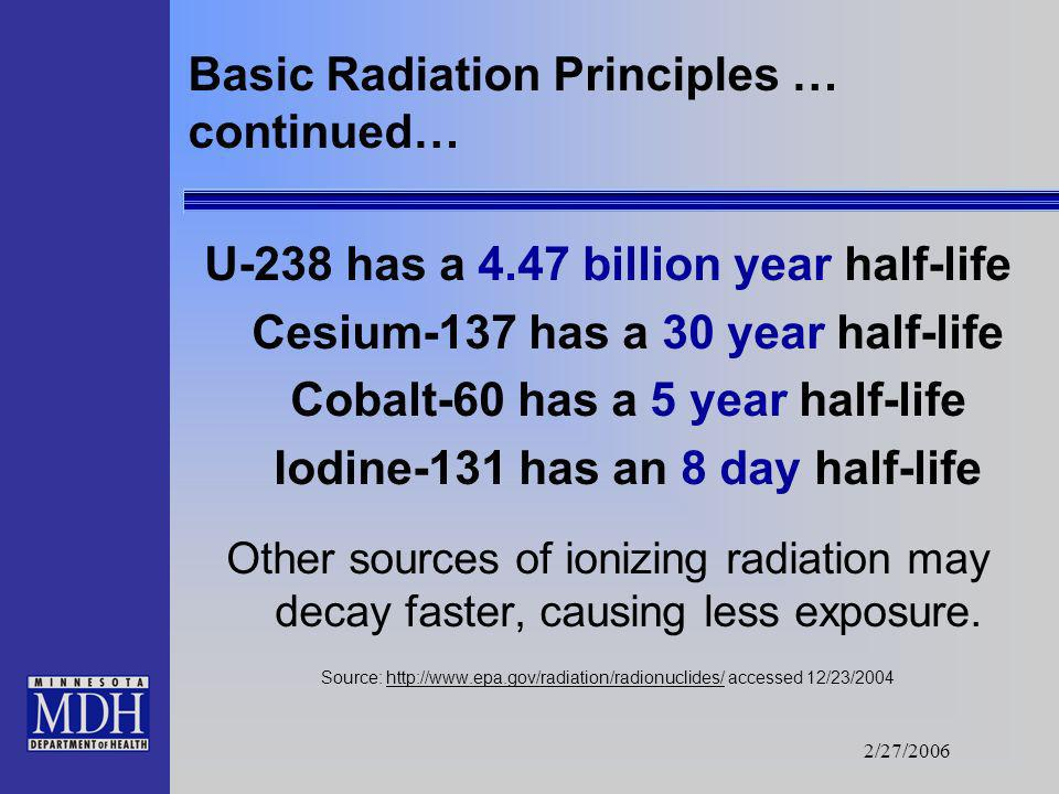 2/27/2006 Basic Radiation Principles … continued… This means that if, an element has a half- life of five years: 1/2 of the radiation would be present