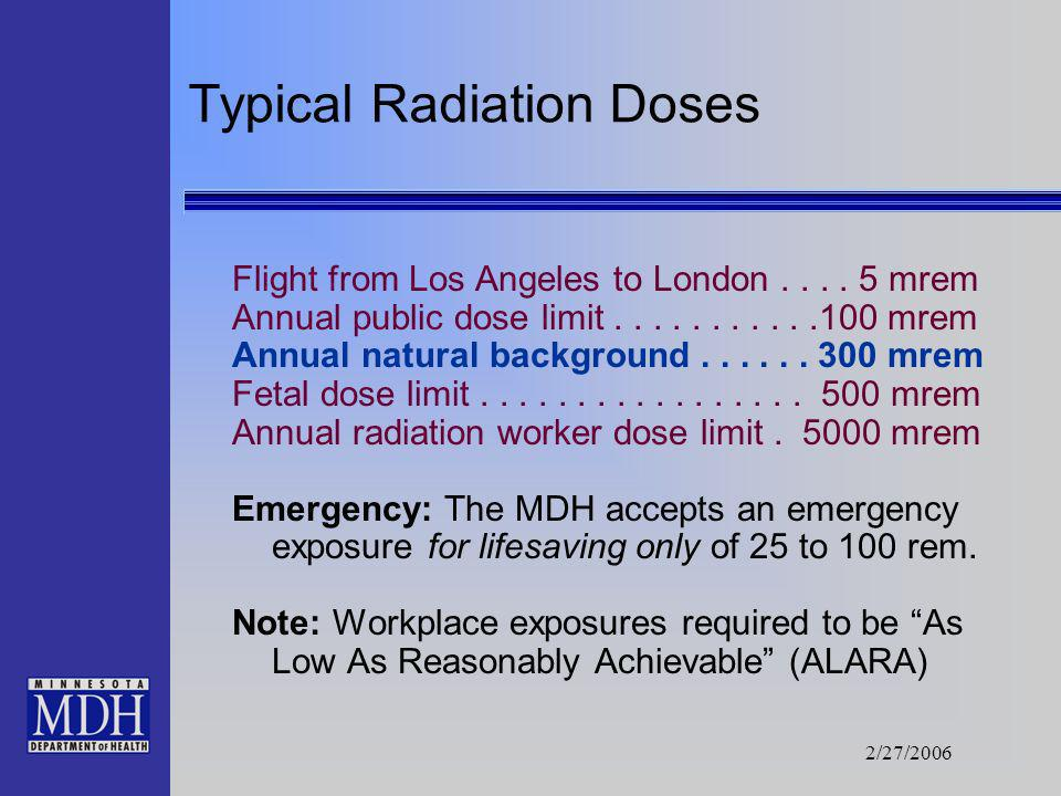 2/27/2006 Measurement The term used to measure radiation doses is rem. It measures the effect of radiation on living tissue, also known as a biologica