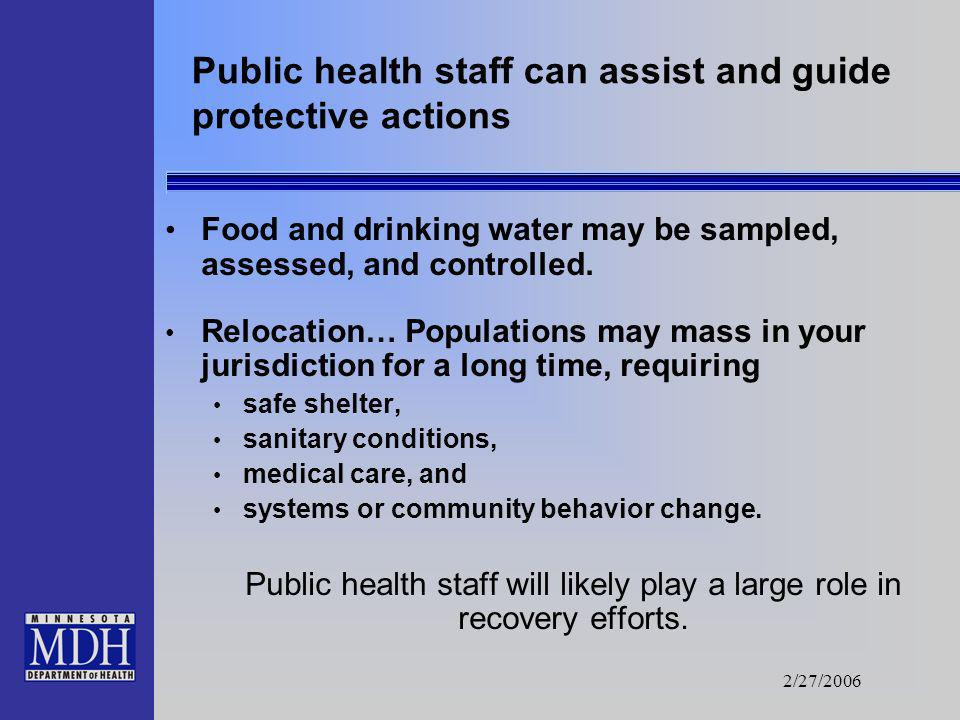 2/27/2006 Public safety and public health staff can plan cooperatively. Evacuate..or.. Immediate/urgent removal of people from a contaminated area. Ma