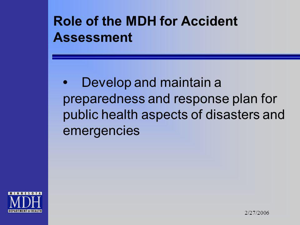 2/27/2006 Role of the MDH for Accident Assessment Analyze samples at the MDH Public Health Laboratory Review results of sample analysis and make recom
