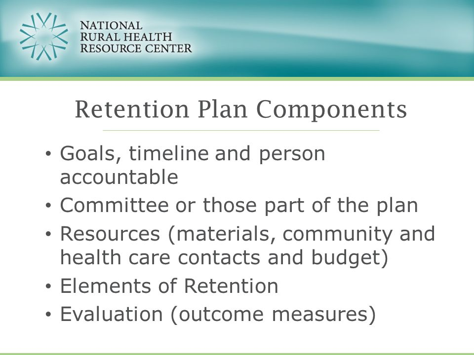 Goals, timeline and person accountable Committee or those part of the plan Resources (materials, community and health care contacts and budget) Elemen