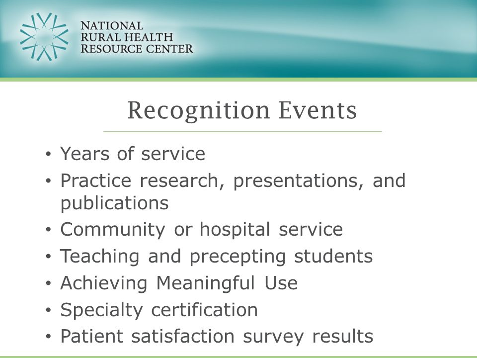 Years of service Practice research, presentations, and publications Community or hospital service Teaching and precepting students Achieving Meaningfu