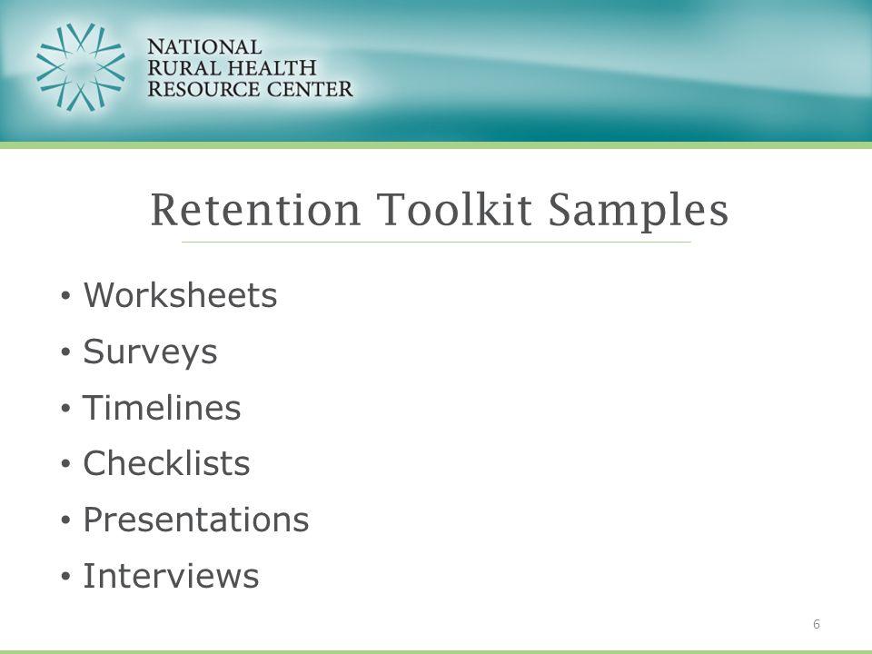 Worksheets Surveys Timelines Checklists Presentations Interviews Retention Toolkit Samples 6