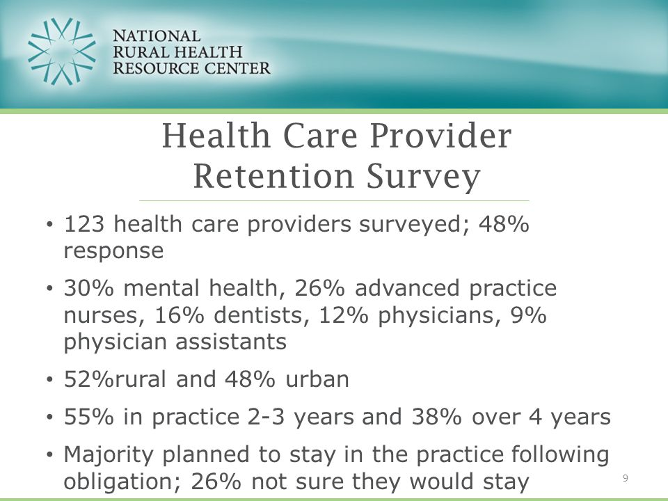 123 health care providers surveyed; 48% response 30% mental health, 26% advanced practice nurses, 16% dentists, 12% physicians, 9% physician assistants 52%rural and 48% urban 55% in practice 2-3 years and 38% over 4 years Majority planned to stay in the practice following obligation; 26% not sure they would stay Health Care Provider Retention Survey 9