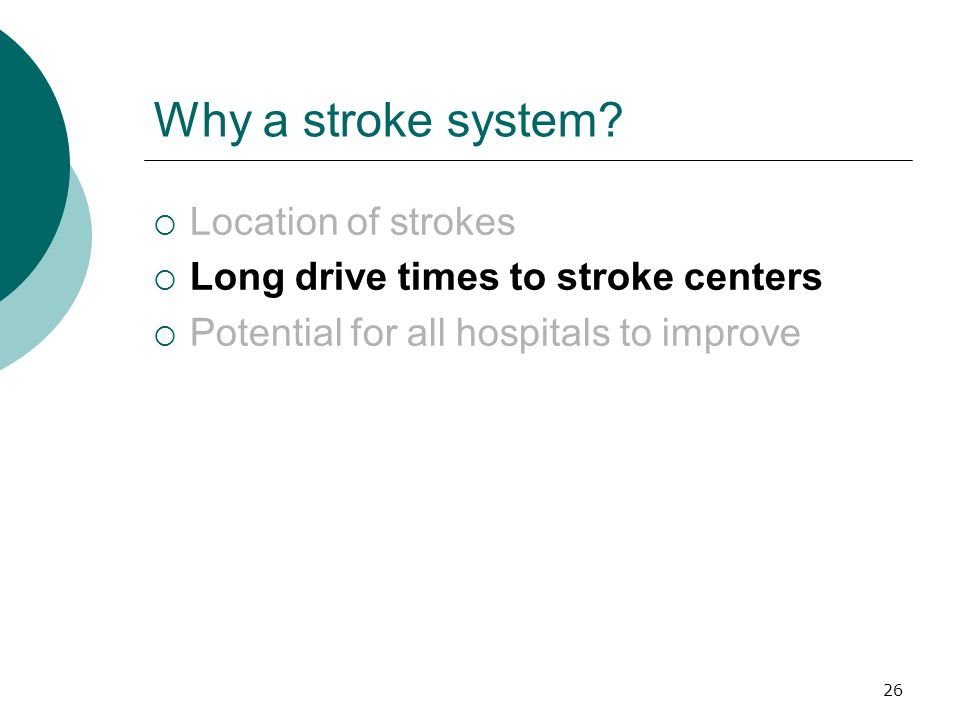 26 Why a stroke system? Location of strokes Long drive times to stroke centers Potential for all hospitals to improve